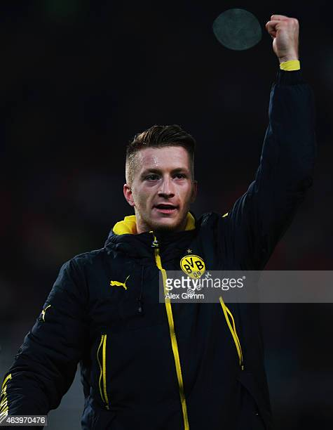Marco Reus of Dortmund celebrates with the fans after the Bundesliga match between VfB Stuttgart and Borussia Dortmund at MercedesBenz Arena on...