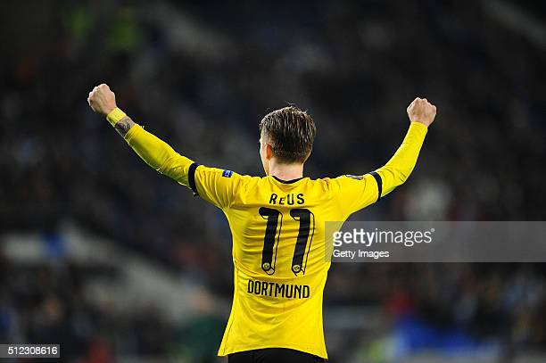 Marco Reus of Dortmund celebrating after scoring a first goal agains FC Porto during the UEFA Europa League Round of 32 second leg match at Estadio...