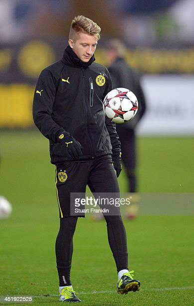 Marco Reus of Dortmund controls a ball during the training session of Borussia Dortmund on November 25 2013 in Dortmund Germany
