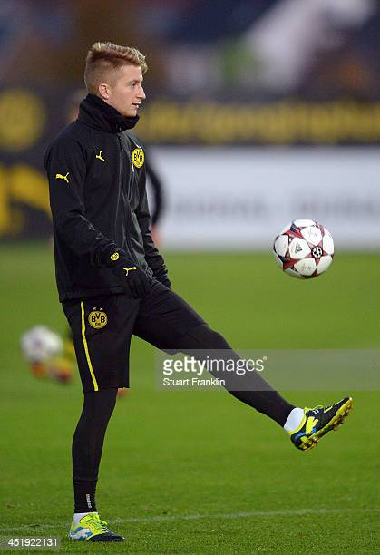 Marco Reus of Dortmund controls a ball during the training session and press conference of Borussia Dortmund on November 25 2013 in Dortmund Germany