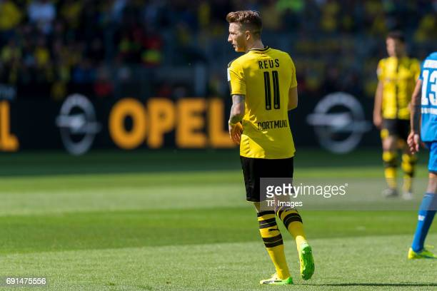 Marco Reus of Dortmund controls the ball during the Bundesliga match between Borussia Dortmund and TSG 1899 Hoffenheim at Signal Iduna Park on May 6...