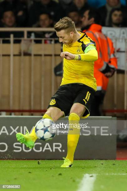 Marco Reus of Dortmund controls the ball during the UEFA Champions League quarter final second leg match between AS Monaco and Borussia Dortmund of...