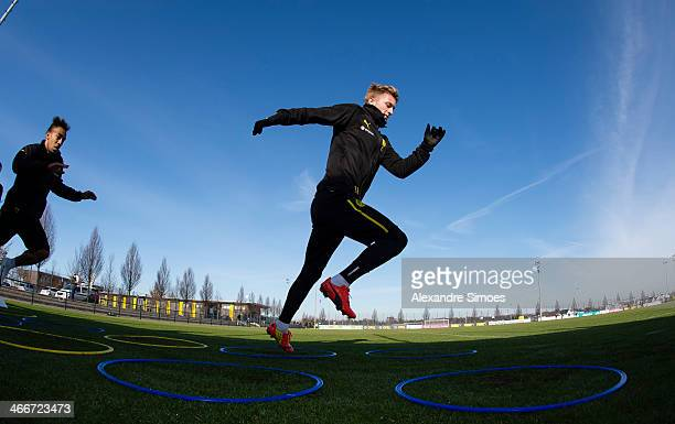 Marco Reus of Dortmund in action during a training session at Borussia Dortmund training ground on February 3 2014 in Dortmund Germany