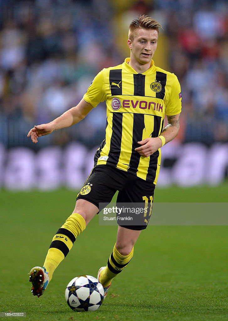 <a gi-track='captionPersonalityLinkClicked' href=/galleries/search?phrase=Marco+Reus&family=editorial&specificpeople=5445884 ng-click='$event.stopPropagation()'>Marco Reus</a> of Dortmund in action during the UEFA Champion League quarter final first leg match between Malaga CF and Borussia Dortmund at La Rosaleda Stadium on April 3, 2013 in Malaga, Spain.