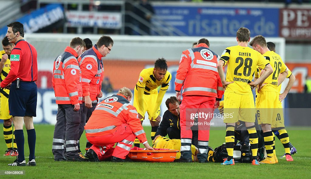 Marco Reus of Dortmund lies injured on the pitch during the Bundesliga match between SC Paderborn and Borussia Dortmund at Benteler Arena on November...