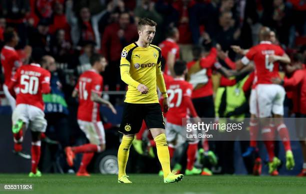 Marco Reus of Dortmund looks dejected during the UEFA Champions League Round of 16 first leg match between SL Benfica and Borussia Dortmund at...