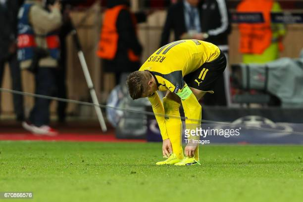 Marco Reus of Dortmund looks dejected during the UEFA Champions League quarter final second leg match between AS Monaco and Borussia Dortmund of...