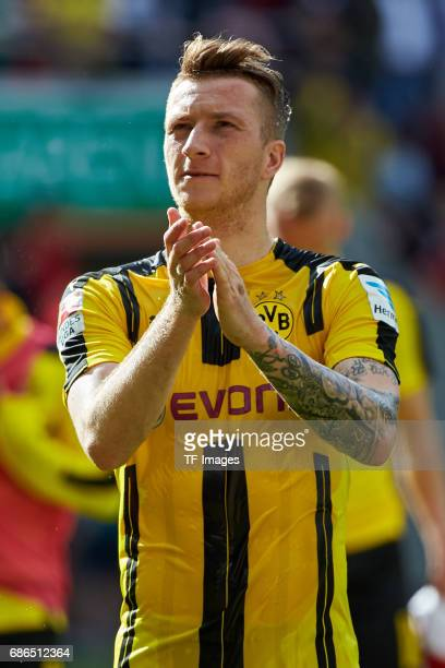 Marco Reus of Dortmund looks on during the Bundesliga match between FC Augsburg and Borussia Dortmund at the WWKArena on May 13 2017 in Augsburg...