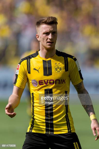 Marco Reus of Dortmund looks on during the Bundesliga match between Borussia Dortmund and TSG 1899 Hoffenheim at Signal Iduna Park on May 6 2017 in...