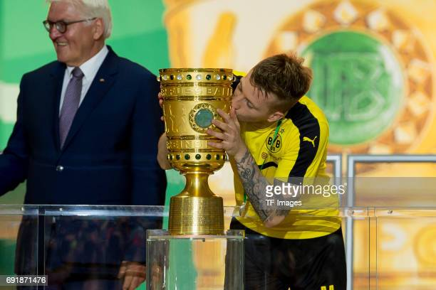 Marco Reus of Dortmund Marco Reus of Dortmund kisses the DFB cup trophy after the DFB Cup final match between Eintracht Frankfurt and Borussia...