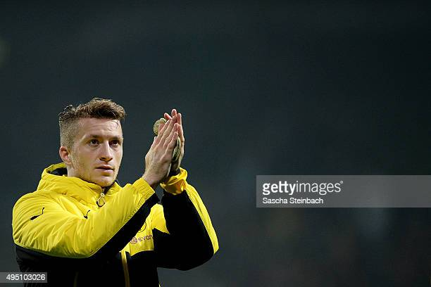 Marco Reus of Dortmund reacts after winning the Bundesliga match against Werder Bremen at Weserstadion on October 31 2015 in Bremen Germany