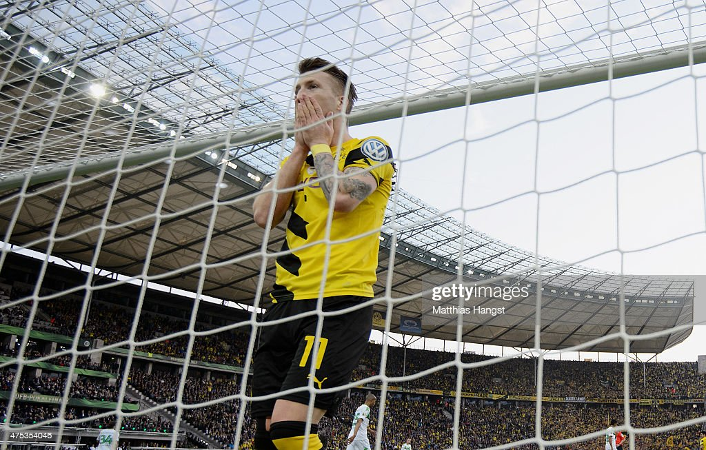 Marco Reus of Dortmund reacts during the DFB Cup Final match between Borussia Dortmund and VfL Wolfsburg at Olympiastadion on May 30, 2015 in Berlin, Germany.