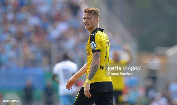 Marco Reus of Dortmund reacts during the DFB Cup first round match between Chemnitzer FC and Borussia Dortmund at Stadion an der Gellertstrasse on...
