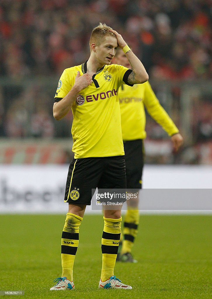 <a gi-track='captionPersonalityLinkClicked' href=/galleries/search?phrase=Marco+Reus&family=editorial&specificpeople=5445884 ng-click='$event.stopPropagation()'>Marco Reus</a> of Dortmund reacts during the DFB Cup Quarter Final match between FC Bayern Muenchen and Borussia Dortmund at Allianz Arena on February 27, 2013 in Munich, Germany.