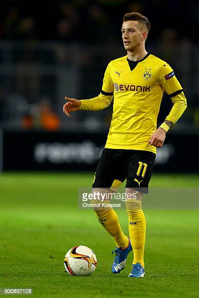 Marco Reus of Dortmund runs with the ball during the UEFA Europa League group C match between Borussia Dortmund and PAOK FC at Signal Iduna Park on...