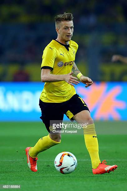 Marco Reus of Dortmund runs with the ball during the UEFA Europa League third Qualifying round 2nd leg match between Borussia Dortmund and Wolfsberg...