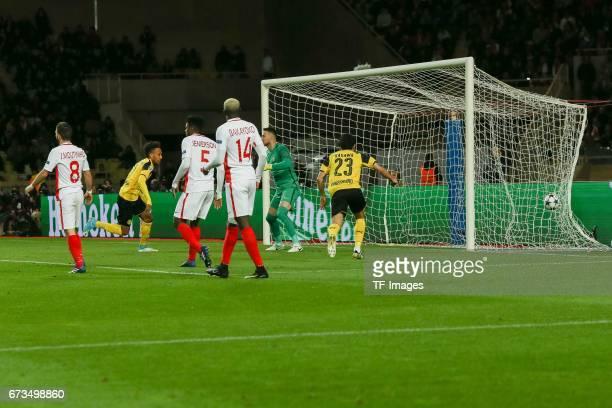 Marco Reus of Dortmund scores a goal during the UEFA Champions League quarter final second leg match between AS Monaco and Borussia Dortmund of...