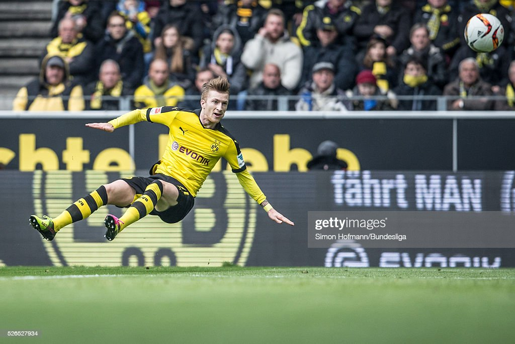 Marco Reus of Dortmund tries to score during the Bundesliga match between Borussia Dortmund and VfL Wolfsburg at Signal Iduna Park on April 30, 2016 in Dortmund, North Rhine-Westphalia.