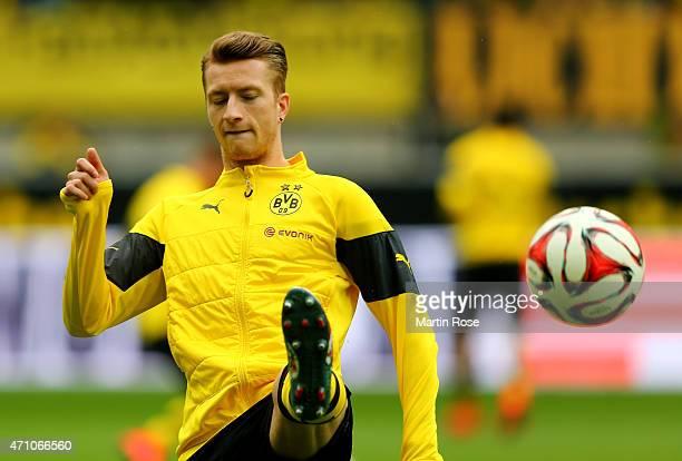 Marco Reus of Dortmund warms up before the Bundesliga match between Borussia Dortmund and Eintracht Frankfurt at Signal Iduna Park on April 25 2015...