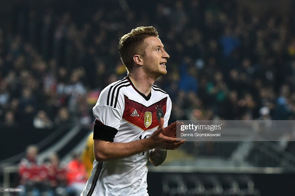 <a gi-track='captionPersonalityLinkClicked' href=/galleries/search?phrase=Marco+Reus&family=editorial&specificpeople=5445884 ng-click='$event.stopPropagation()'>Marco Reus</a> of Germany celebrates after scoring the opening goal during the International Friendly match between Germany and Australia at Fritz-Walter-Stadion on March 25, 2015 in Kaiserslautern, Germany.