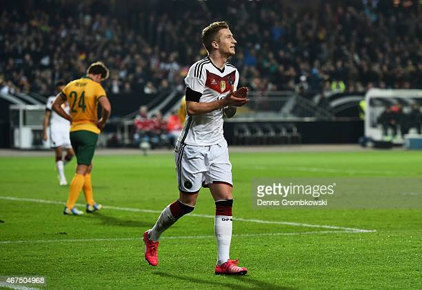 Marco Reus of Germany celebrates after scoring the opening goal during the International Friendly match between Germany and Australia at...