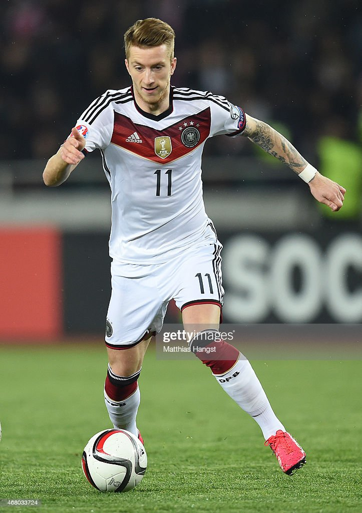 Marco Reus of Germany controls the ball during the EURO 2016 Group D Qualifier match between Georgia and Germany at Boris Paichadze Stadium on March...