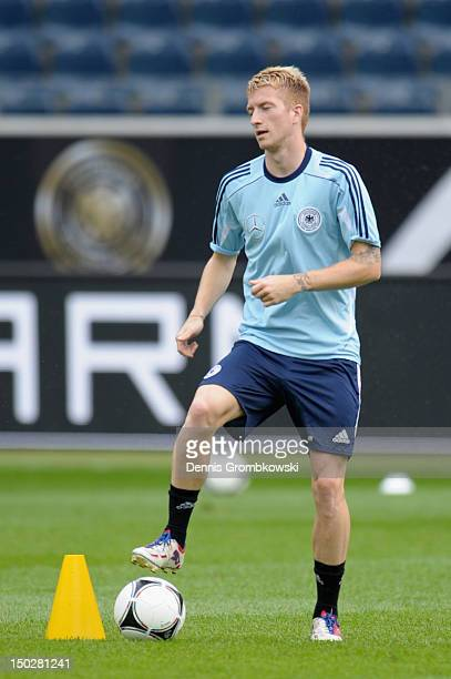 Marco Reus of Germany practices during a training session ahead of the friendly match against Argentina at CommerzbankArena on August 14 2012 in...