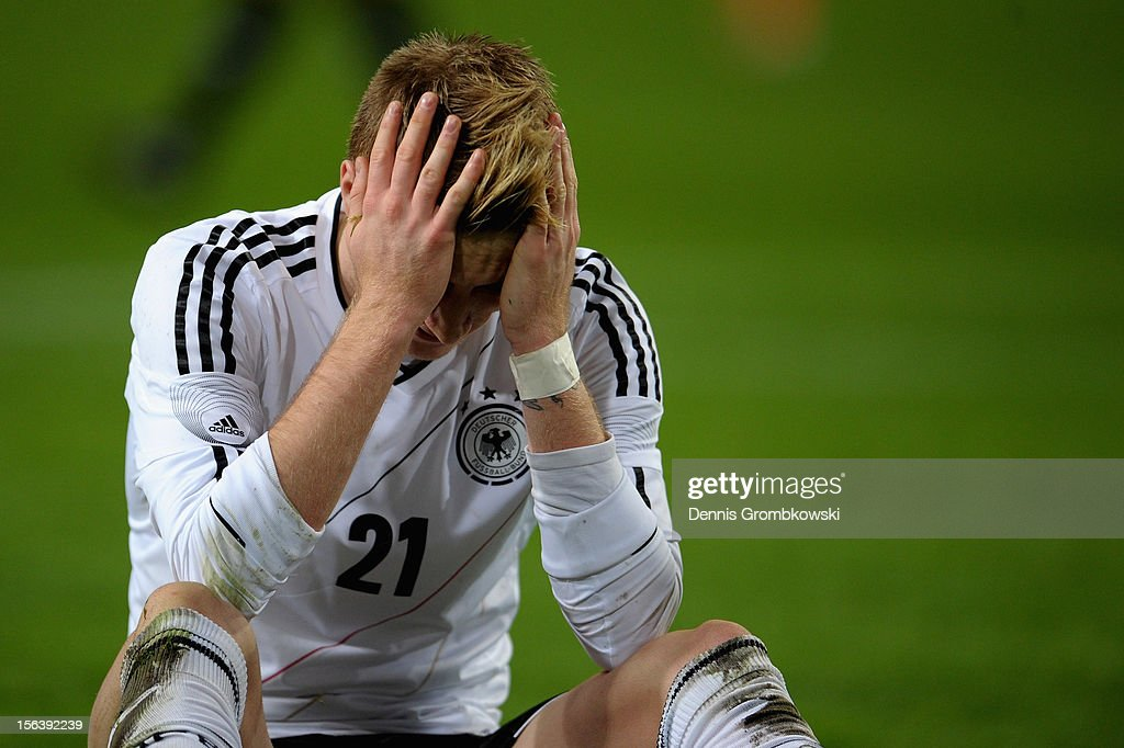 Marco Reus of Germany reacts during the International Friendly match between Netherlands and Germany at Amsterdam Arena on November 14, 2012 in Amsterdam, Netherlands.