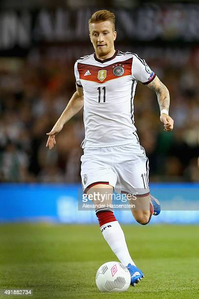Marco Reus of Germany runs with the ball during the UEFA EURO 2016 Qualifier group D match between Republic of Ireland and Germany at the Aviva...