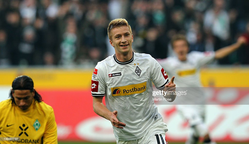 Marco Reus of Gladbach celebrates after he scores his team's 2nd goal during the Bundesliga match between Borussia Moenchengladbach and SV Werder Bremen at Borussia Park on November 19, 2011 in Moenchengladbach, Germany.