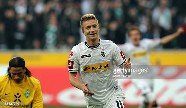 Marco Reus of Gladbach celebrates after he scores his team's 2nd goal during the Bundesliga match between Borussia Moenchengladbach and SV Werder...