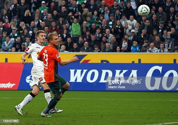 Marco Reus of Gladbach scores his team's 3rd goal during the Bundesliga match between Borussia Moenchengladbach and SV Werder Bremen at Borussia Park...