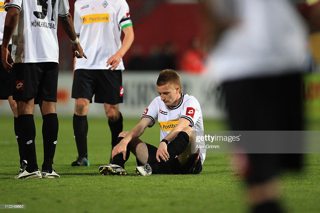 Marco Reus of M'Gladbach reacts after the Bundesliga match between FSV Mainz 05 and Borussia M'gladbach at Bruchweg Stadium on April 15, 2011 in Mainz, Germany.