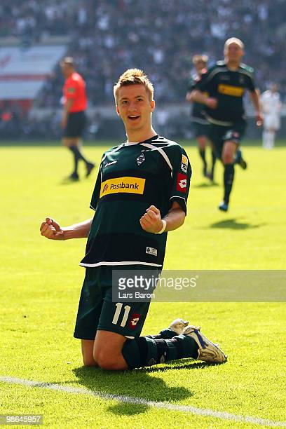 Marco Reus of Moenchengladbach celebrates scoring the first goal during the Bundesliga match between Borussia Moenchengladbach and FC Bayern Muenchen...