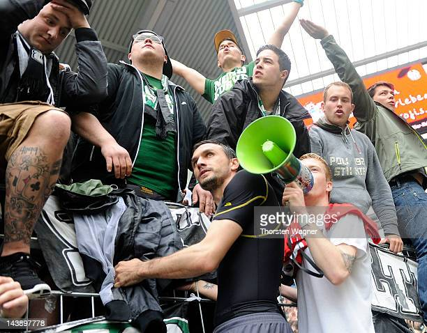 Marco Reus of Moenchengladbach celebrates with the fans after winning the Bundesliga match between FSV Mainz 05 and Borussia Moenchengladbach at...