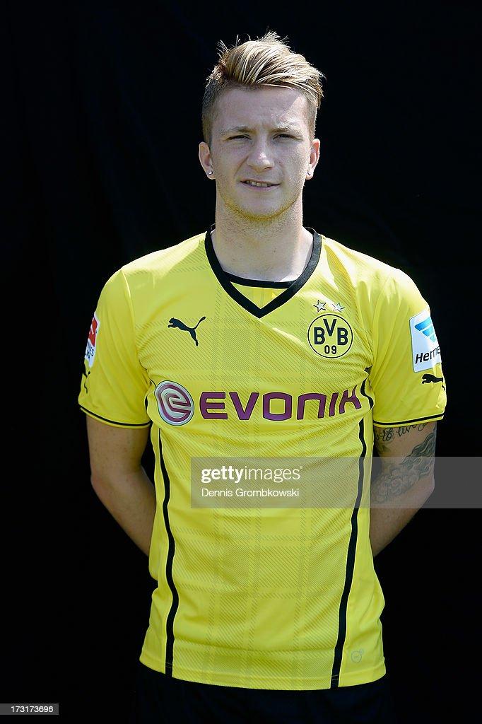 Marco Reus poses during the Borussia Dortmund Team Presentation at Brackel Training Ground on July 9, 2013 in Dortmund, Germany.