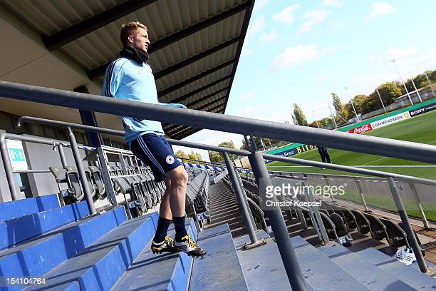 Marco Reus walks to the training session of Germany at Amateur Stadium on October 14 2012 in Berlin Germany