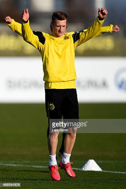Marco Reus warms up during a Borussia Dortmund training session at training ground on March 17 2015 in Dortmund Germany