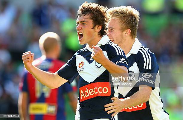 Marco Rojas of the Victory celebrates scoring a goal during the round 23 ALeague match between the Melbourne Victory and the Newcastle Jets at AAMI...