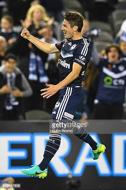 Marco Rojas of the Victory celebrates scoring a goal during the round four ALeague match between the Melbourne Victory and Wellington Phoenix at...