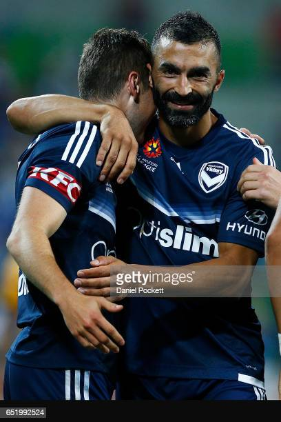 Marco Rojas of the Victory celebrates with Fahid Ben Khalfallah of the Victory after scoring a goal during the round 23 ALeague match between...