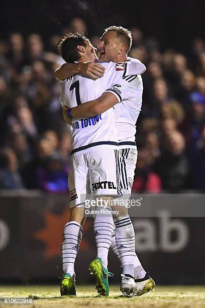 Marco Rojas of the Victory is congratulated by Besart Berisha after scoring a goal during the FFA Cup match between Bentleigh Greens and Melbourne...