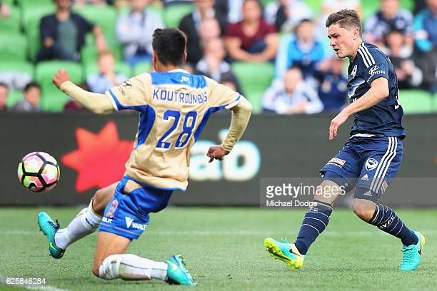 Marco Rojas of the Victory kicks the ball for a goal during the round eight ALeague match between Melbourne Victory and the Newcastle Jets at AAMI...