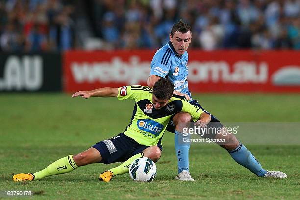 Marco Rojas of Victory and Sebastian Ryall of Sydney FC contest the ball during the round 25 ALeague match between Sydney FC and the Melbourne...
