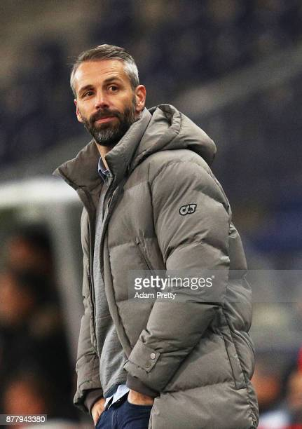 Marco Rose head coach of Red Bull Salzburg is happy during the UEFA Europa League group I match between FC Salzburg and Vitoria Guimaraes at Red Bull...