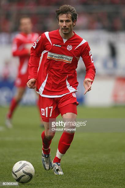 Marco Rose of Mainz runs with the ball during the Second Bundesliga match between FSV Mainz 05 and 1899 Hoffenheim at the Stadium am Bruchweg on...