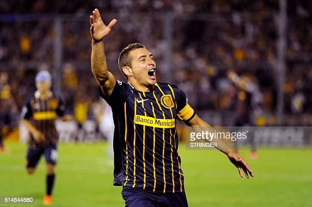 Marco Ruben of Argentina's Rosario Central celebrates a goal against Uruguay's River Plate during their Libertadores Cup 2016 football match at the...