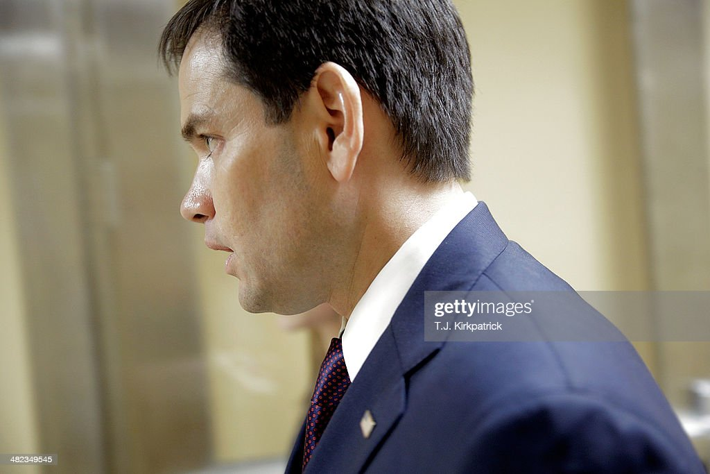 <a gi-track='captionPersonalityLinkClicked' href=/galleries/search?phrase=Marco+Rubio+-+Politician&family=editorial&specificpeople=11395287 ng-click='$event.stopPropagation()'>Marco Rubio</a> (R-FL) heads to the Senate Chamber to vote on the Reed-Heller unemployment insurance bill on April 3, 2014 in Washington, DC. The bill, which cleared a final hurdle and is expected to pass the Senate on Monday, would reinstate emergency unemployment insurance benefits for five months.