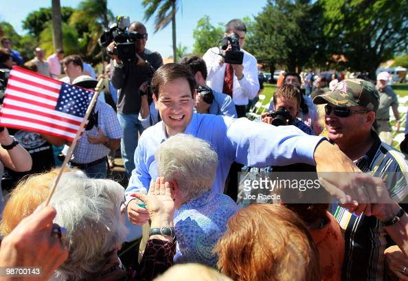 Marco Rubio is greeted by supporters after signing election documents officially qualifying him as a Republican candidate for the US Senate on April...