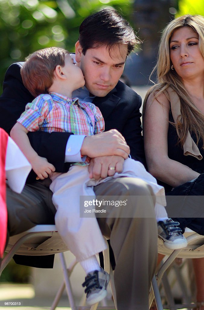<a gi-track='captionPersonalityLinkClicked' href=/galleries/search?phrase=Marco+Rubio+-+Politician&family=editorial&specificpeople=11395287 ng-click='$event.stopPropagation()'>Marco Rubio</a> sits with his son, Dominick Rubio and his wife, Jeanette Rubio during a ceremony to sign election documents to officially qualifying him as a Republican candidate for the U.S. Senate on April 27, 2010 in Miami, Florida. Rubio would become the Republican candidate to beat if his current challenger, Florida Governor Charlie Crist, switches parties to become an Independent candidate.